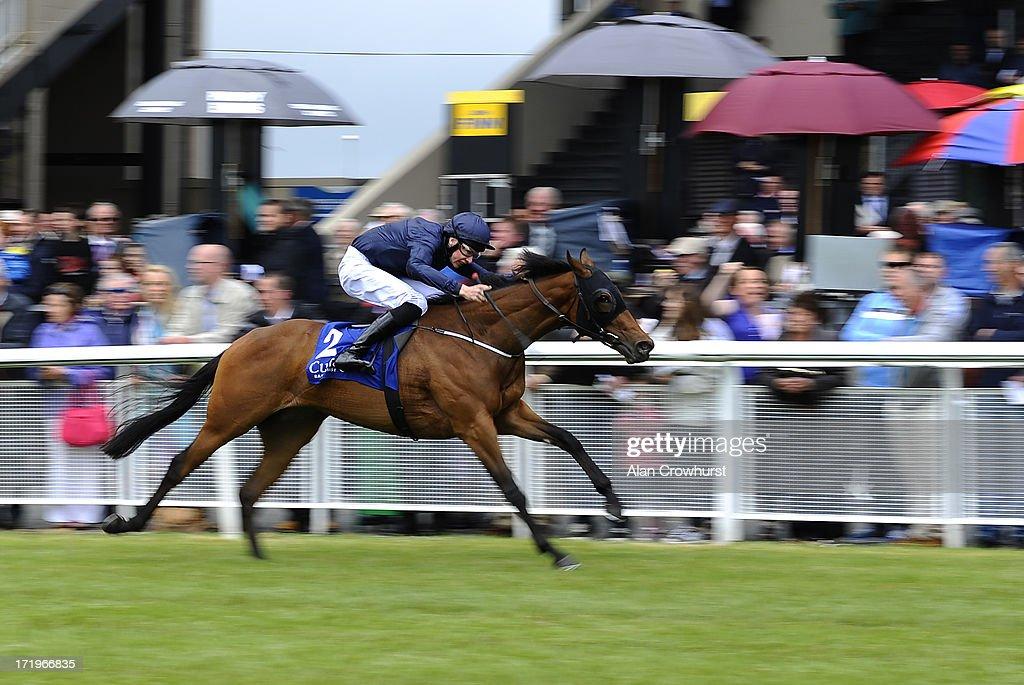 Joseph O'Brien riding Bye Bye Birdie win The Grangecon Stud Stakes at Curragh racecourse on June 30, 2013 in Kildare, Ireland.