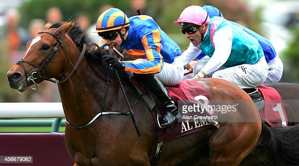 Joseph O'Brien riding Gleneagles past the post first but is disqualified and the win given to Thierry Thulliez riding Full Mast in The Qatar Prix...