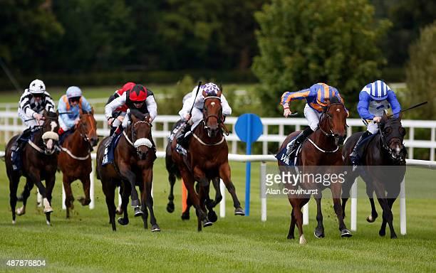 Joseph O'Brien riding Johannes Vermeer win The Willis Champion Juvenile Stakes at Leopardstown racecourse on September 12 2015 in Dublin Ireland