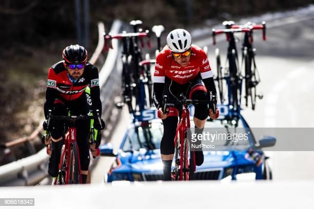 37 ROSSKOPF Joseph of BMC RACING TEAM and 57 SKUJINS Toms of TREK SEGAFREDO during the 98th Volta Ciclista a Catalunya 2018 / Stage 4 Llanars La...