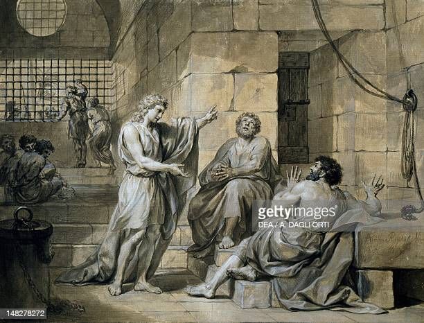 Joseph of Egypt in prison 17551756 by Anton Raphael Mengs bold black lines grey pen and opaque paint on paper 45x59 cm Vienna Albertina