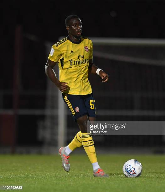 Joseph Olowu of Arsenal during the Leasingcom match between Northampton Town and Arsenal U21 at PTS Academy Stadium on August 27 2019 in Northampton...