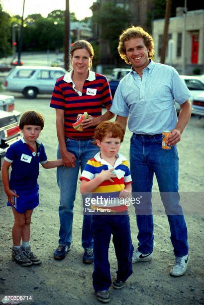 Joseph P Kennedy 2nd with his wife Sheila and two children Matthew and Joseph campaign in the suburbs May 2 1986 Boston Massachusetts