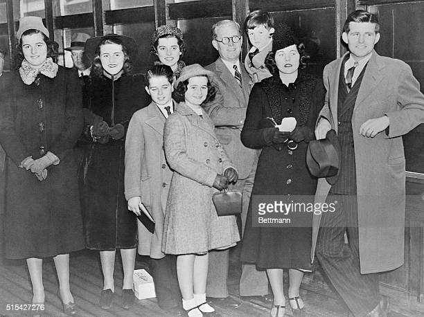 Joseph P Kennedy new United States Ambassador to Great Britain is pictured here aboard the SS Manhattan with eight of his nine children who were on...