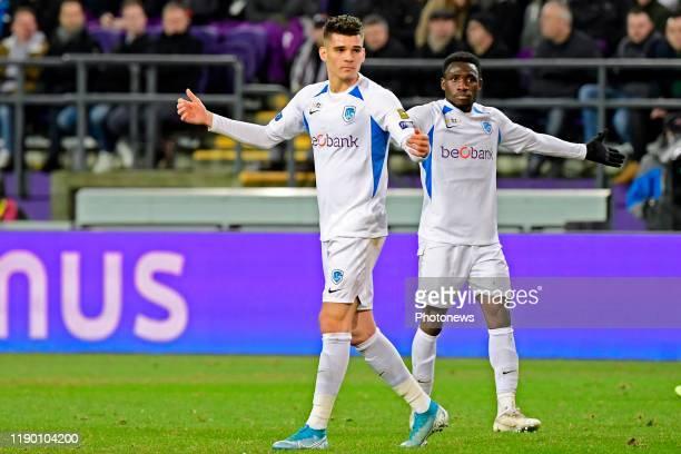 Joseph Paintsil forward of Genk and Ianis Hagi midfielder of Genk react during the Jupiler Pro League match between RSC Anderlecht and Krc Genk on...