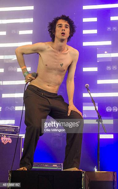 Joseph Pancucci and Lias Saoudi of Fat White Family perform on the John Peel Stage on Day 2 of the Glastonbury Festival at Worthy Farm on June 28,...