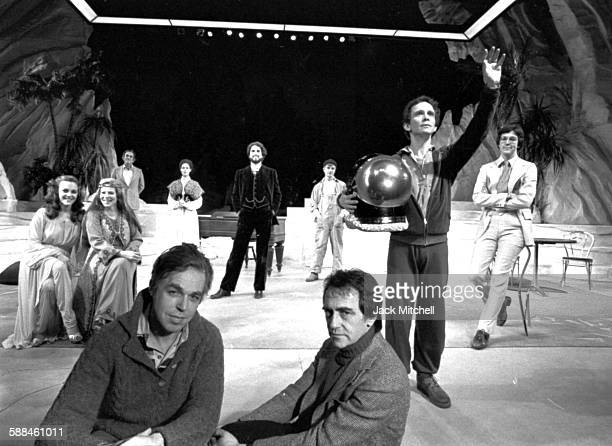 Joseph Papp founder of The Public Theater with playwright John Guare and the cast of Marco Polo Sings A Solo including Madeline Kahn Sigorney Weaver...