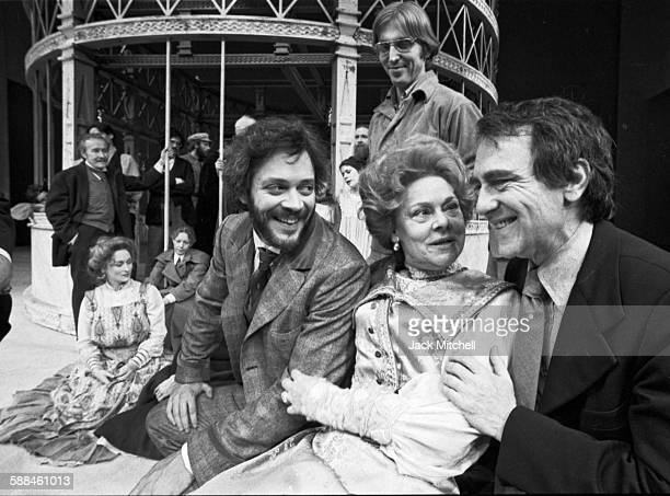 """Joseph Papp, founder of The Public Theater with the cast of """"The Cherry Orchard"""", including Meryl Streep, Raul Julia, and Irene Worth, photographed..."""