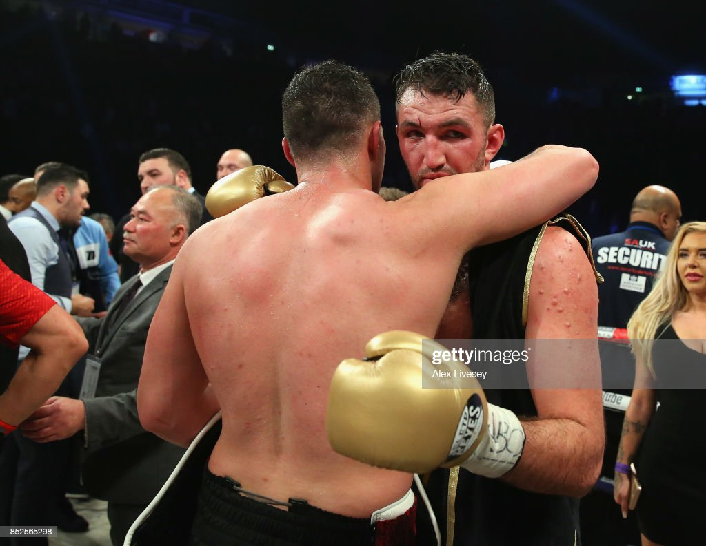 Joseph Parker and Hughie Fury embrace after the WBO World Heavyweight Title fight at Manchester Arena on September 23, 2017 in Manchester, England.