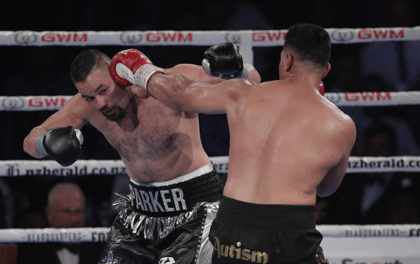 Joseph Parker and Junior Fa trade punches during the heavyweight bout between Joseph Parker and Joshua Fa at Spark Arena on February 27, 2021 in...