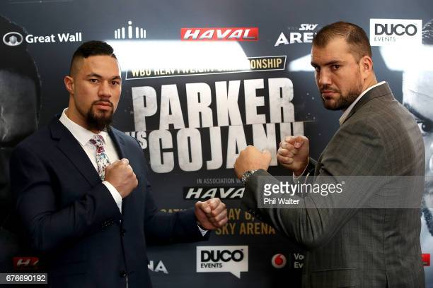 Joseph Parker and Razvan Cojanu pose during a press conference at The Neighbourhood Bar on May 3 2017 in Auckland New Zealand