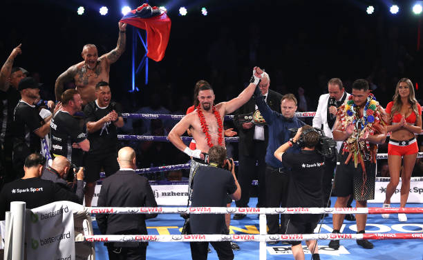 Joseph Parker celebrates his win against Junior Fa after the heavyweight bout between Joseph Parker and Joshua Fa at Spark Arena on February 27, 2021...