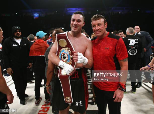 Joseph Parker celebrates victory over Hughie Fury after the WBO World Heavyweight Title fight at Manchester Arena on September 23 2017 in Manchester...