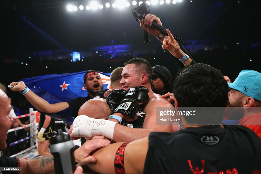Joseph Parker celebrates victory over Hughie Fury after the WBO World Heavyweight Title fight at Manchester Arena on September 23, 2017 in Manchester, England.