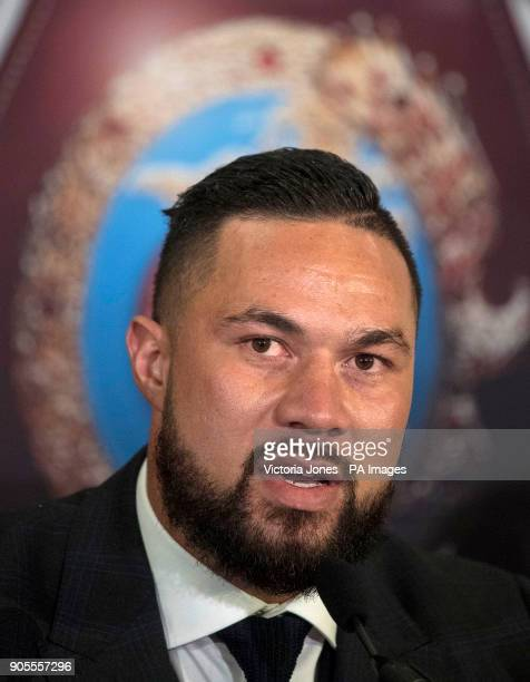 Joseph Parker during the press conference at the Dorchester Hotel London