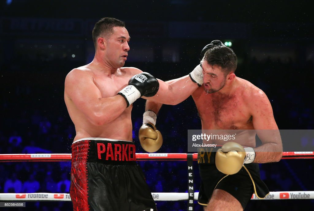 Joseph Parker lands a left shot on Hughie Fury during the WBO World Heavyweight Title fight at Manchester Arena on September 23, 2017 in Manchester, England.