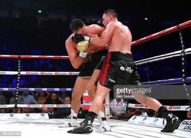 Joseph Parker lands a left shot on Hughie Fury during the WBO World Heavyweight Title fight at Manchester Arena on September 23 2017 in Manchester...