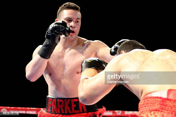 Joseph Parker of New Zealand and Bowie Tupou of Tonga exchange punches during the heavyweight bout on August 1 2015 in Invercargill New Zealand