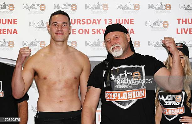 Joseph Parker of New Zealand and Francois Botha of South Africa pose during the weight in ahead of tomorrow night's bout between Joseph Parker and...
