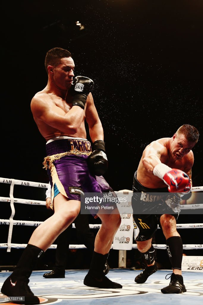 Joseph Parker of New Zealand fights Brian Minto of USA during the New Zealand Heavyweight bout between Joseph Parker and Brian Minto at Vodafone Events Centre on July 5, 2014 in Auckland, New Zealand.