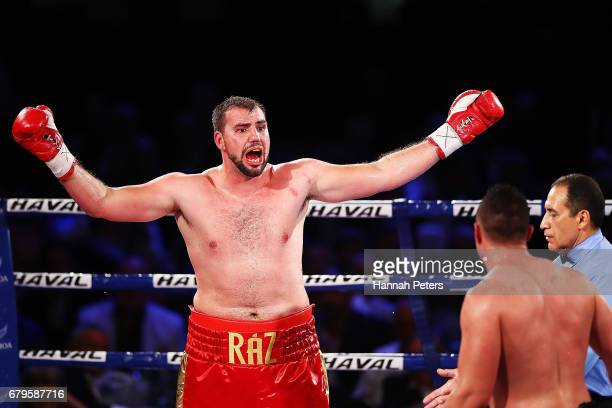 Joseph Parker of New Zealand fights Razvan Cojanu of Romania for the WBO Heavyweight Title at Vodafone Events Centre on May 6 2017 in Auckland New...