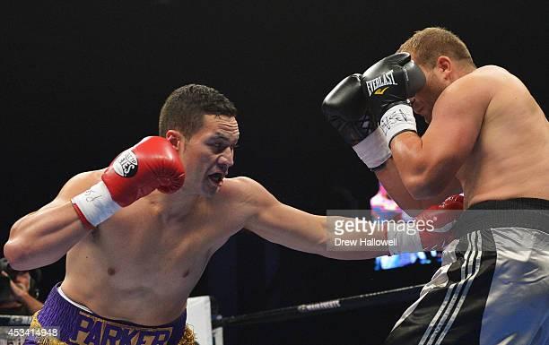 Joseph Parker of New Zealand punches Keith Thompson at Bethlehem Event Center on August 9 2014 in Bethlehem Pennsylvania