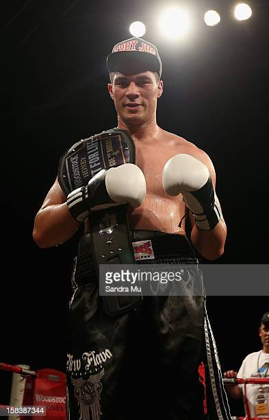 Joseph Parker poses with his title belt after winning the professional bout between Joseph Parker and Richard Tutaki during the 2012 Fight for Life...