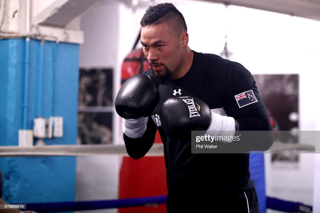 Joseph Parker spars with his trainer Kevin Barry during a training session on May 2, 2017 in Auckland, New Zealand. Parker will fight Razvan Cojanu in Auckland on Saturday.