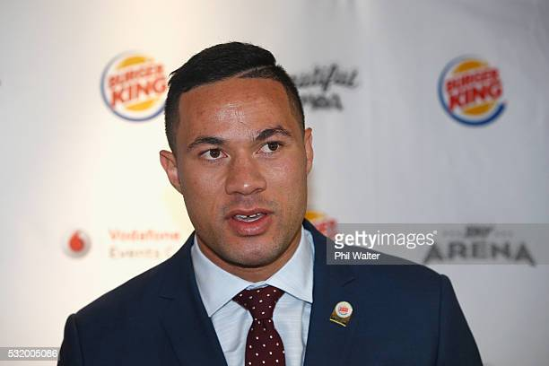 Joseph Parker speaks alongside Carlos Takam during a press conference at Burger King on May 18 2016 in Auckland New Zealand