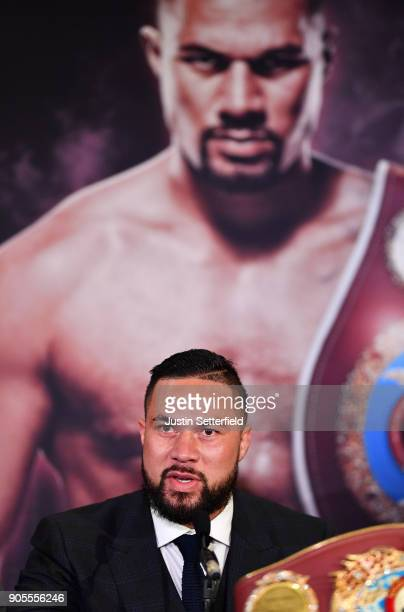 Joseph Parker speaks during an Anthony Joshua and Joseph Parker Press Conference at the Dorchester Hotel on January 16 2018 in London England