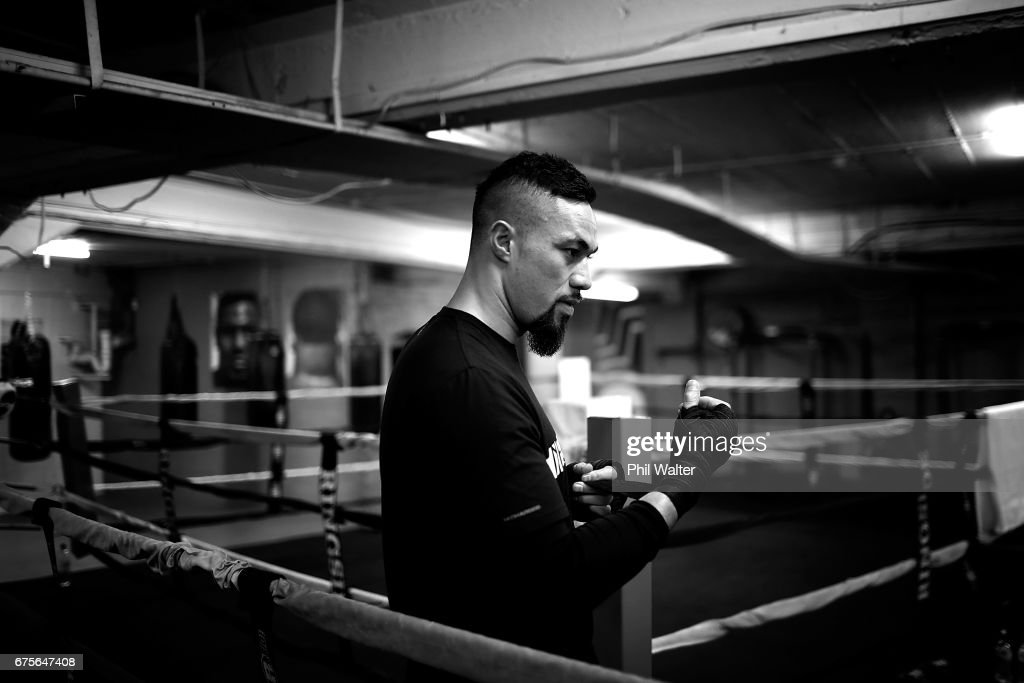 Joseph Parker wraps his hands before a training session on May 2, 2017 in Auckland, New Zealand. Parker will fight Razvan Cojanu in Auckland on Saturday.