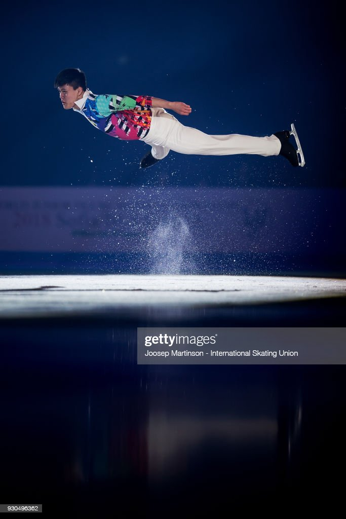Joseph Phan of Canada performs in the Gala Exhibition during the World Junior Figure Skating Championships at Arena Armeec on March 11, 2018 in Sofia, Bulgaria.