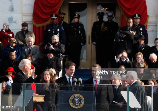 Joseph R. Biden is sworn in as Vice President by Supreme Court Justice John Paul Stevens during the inauguration of Barack Obama as the 44th...