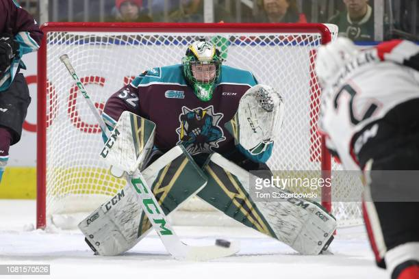 Joseph Raaymakers of the London Knights faces a shot in the first period during OHL game action against the Ottawa 67s at Budweiser Gardens on...