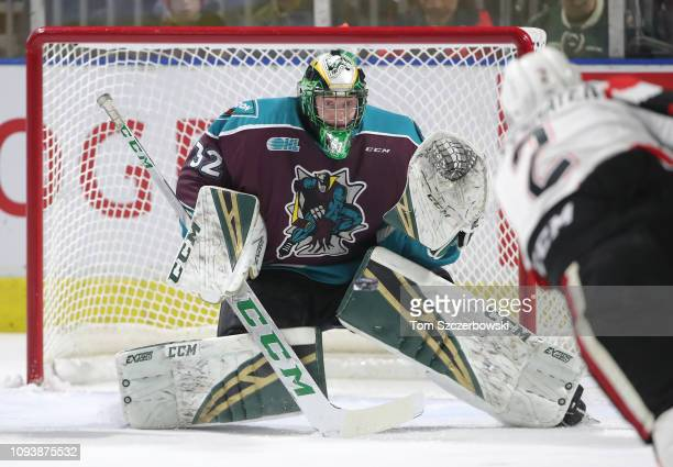 Joseph Raaymakers of the London Knights guards the net as he faces a shot before making the save in the first period during OHL game action against...