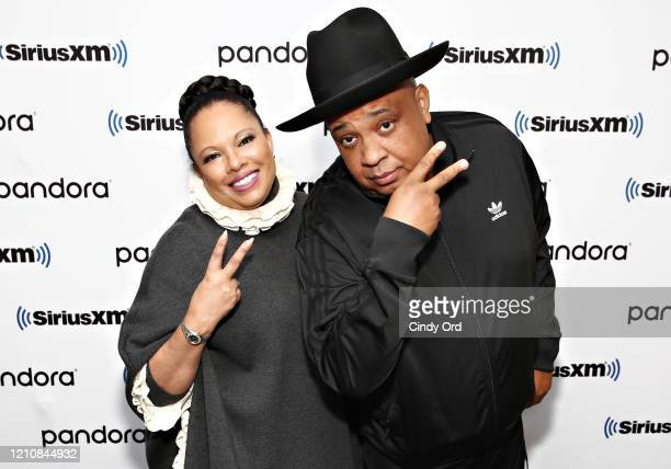 """Joseph """"Rev Run"""" Simmons and his wife Justine Simmons visit the SiriusXM Studios on March 06, 2020 in New York City."""