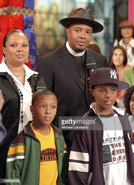 Joseph Reverend Run Simmons with family during Charlize Theron Pharrell Williams and Reverend Run Visit MTV's TRL October 13 2005 at MTV Studios in...