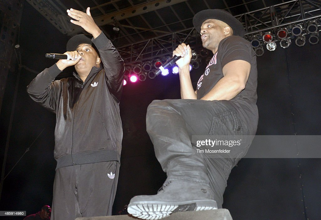Joseph 'Run' Simmons (L) and Darryl 'D.M.C.' McDaniels of Run-D.M.C. perform during Riot Fest at the National Western Complex on August 29, 2015 in Morrison, Colorado.