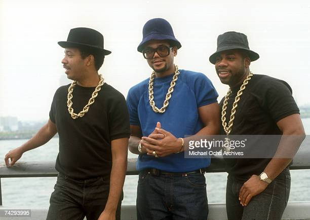 Joseph Run Simmons Darryl DMC McDaniels and Jason JamMaster Jay Mizell of the hip hop group Run DMC pose for a portrait in 1988 in New York New York