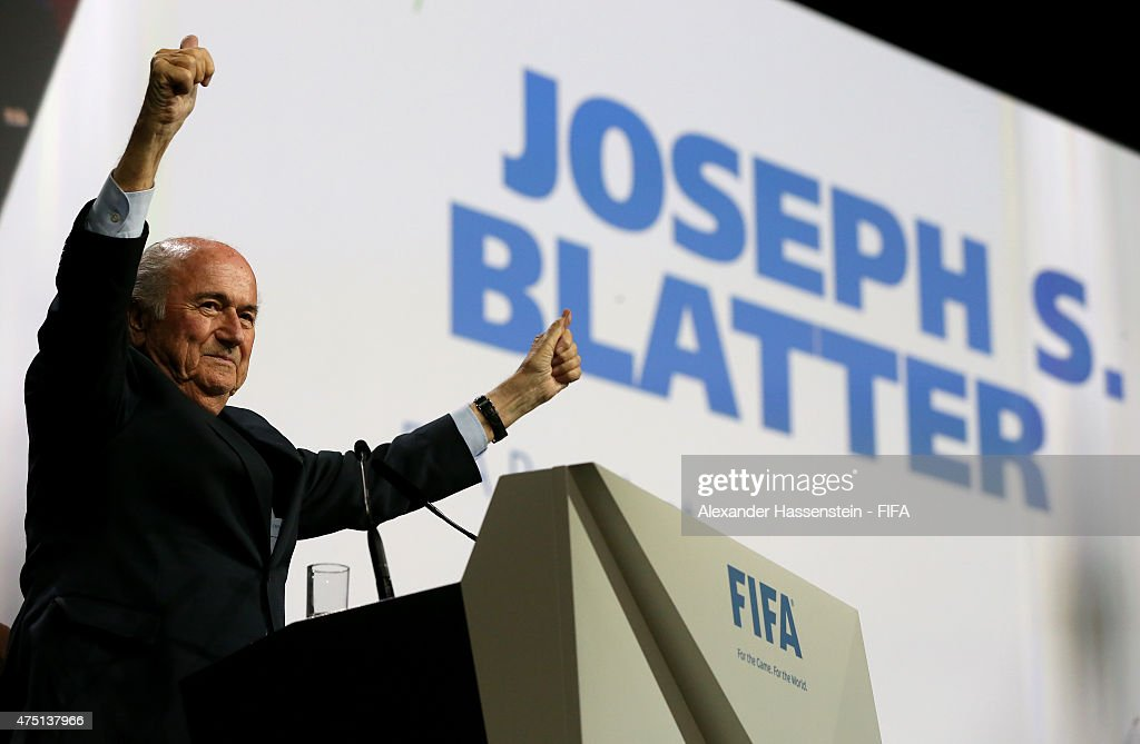 Joseph S. Blatter celebrates as he is re-elected as FIFA President after Presidential candidate H.R.H Prince Ali Bin Al Hussein of Jordan withdrew from the second vote during the 65th FIFA Congress at the Hallenstadion on May 29, 2015 in Zurich, Switzerland.