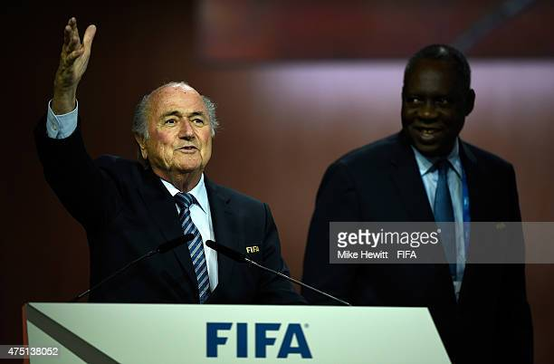Joseph S Blatter celebrates as he is reelected as FIFA President after Presidential candidate HRH Prince Ali Bin Al Hussein of Jordan withdrew from...