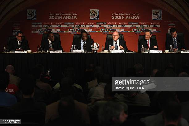 Joseph S Blatter FIFA President Issa Hayatou Chairman of the Organising Committee of the FIFA World Cup and FIFA VicePresident Jérôme Valcke FIFA...