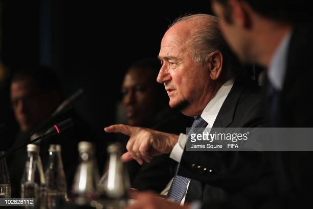 Joseph S Blatter FIFA President talks to the media alongside Issa Hayatou Chairman of the Organising Committee of the FIFA World Cup and FIFA...