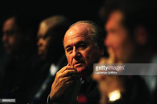 Joseph S Blatter, FIFA President talks to the media at the Sandton Convention Centre on June 26, 2009 in Johannesburg, South Africa.