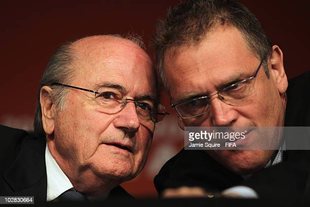 Joseph S Blatter FIFA President talks with Jrme Valcke FIFA Secretary General during a FIFA 2010 Wolrd Cup wrapup press conference on July 12 2010 in...