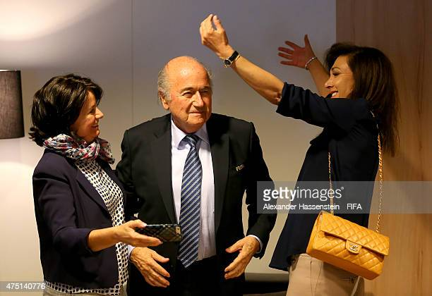 Joseph S Blatter is congratulated by daughter Corinne and Linda Barras after being reelected as FIFA President after Presidential candidate HRH...