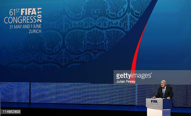 Joseph S Blatter President of FIFA talks during the 61st FIFA Congress Opening Ceremony at Hallenstadion on May 31 2011 in Zurich Switzerland
