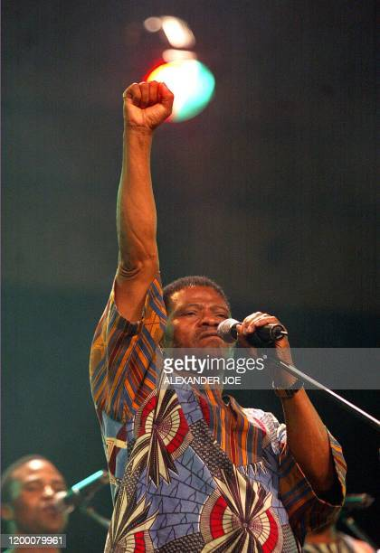 Joseph Shabalala legendary founder of South Africa's Ladysmith Black Mambazo celebrating 42 years of a capella Zulu melodies at a show in...