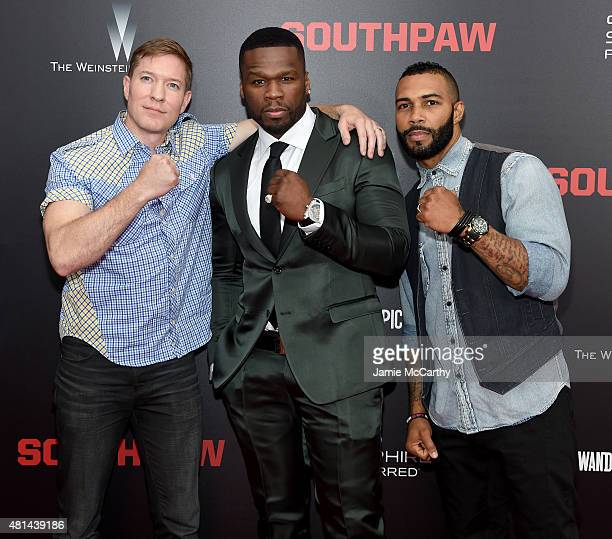 Joseph Sikora Curtis '50 Cent' Jackson and Omari Hardwick attend the New York premiere of 'Southpaw' at AMC Loews Lincoln Square on July 20 2015 in...