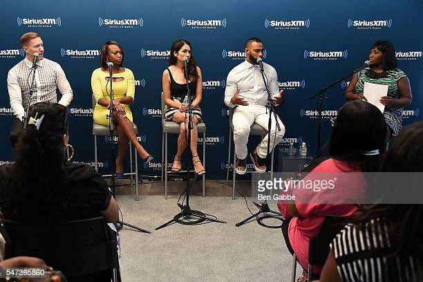 Joseph Sikora Naturi Naughton Lela Loren and Omari Hardwick are interviewed by Bevy Smith at SiriusXM's 'Town Hall' with the cast of 'Power' at...